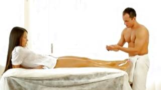 Kneeling lusty slut is giving perfect blowjob