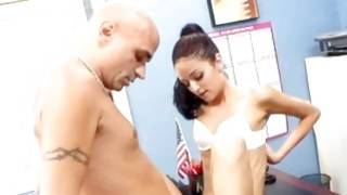 Look at this hot and bald guy fucking his secretary on the table