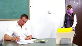 A strong naughty man holding this sweetie on the desk during fucking her