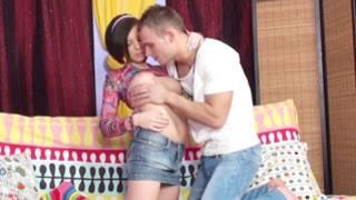 Cute man caressing fabulous gazongas of his marvelous girlfriend