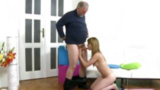 Stare my maiden giving old and indecent grandpa a priceless cone