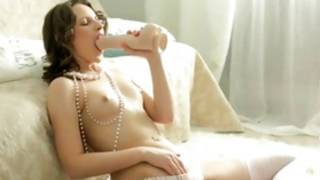 Brown-haired babe is licking a magic wand and turned-on her cum-hole hole