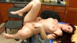 Delightsome toddler doxy is riding on lollipop