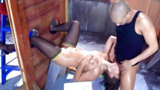 Depraved threesome where cutie screwed exotic