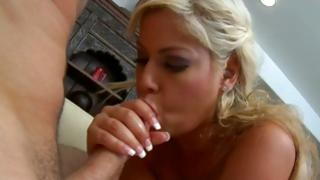 Astounding blonde wench is sinful sucking his hot dog