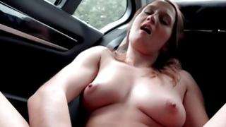 Sweetheart with aye zeppelins is masturbating in the car
