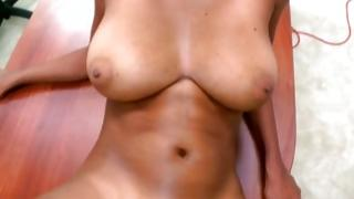 Sexual dark-skinned tramp with greater melons riding in pov