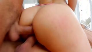 Fleshly fair-haired prostitute has MMF sex