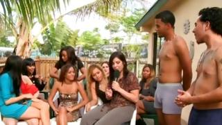 Group of charming skanks rejoice with men