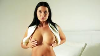 Unique angel with dark-skinned hair is dreaming of harsher masturbation