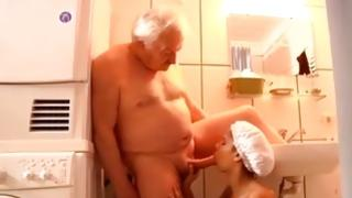 Petite latin juvenile gain her holes team-fucked by an old guy