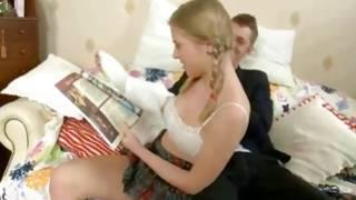 Splendid young slut hollering during doggy penetration