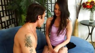 Engaging young slut welcomed by tattooed dude