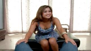 Dirty babe kneeling for pleasuring a manhood
