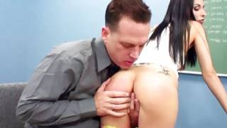 Brown-haired angel with the tiny milk shakes is giving the blowjob