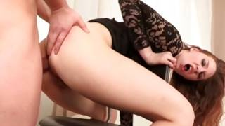 Lovley prostitute is bending while pounded with a knob