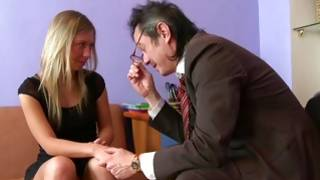 Natural blonde charming doxy is eating away on the huge mature pecker
